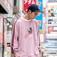 日系潮牌套头卫衣男款宽松版条纹印花高街风嘻哈街舞粉色