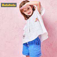 巴拉巴拉童装女童小童宝宝套装夏装新款露肩T恤短裤两件套潮