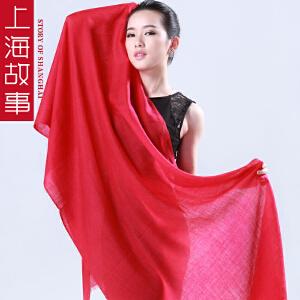 上海故事披肩两用韩版学生百搭女春秋文艺大红围巾长款羊毛多功能