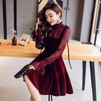 酒红色蕾丝连衣裙2018新款女装春装时髦套装裙短款小礼服吊带裙子 酒红色