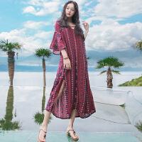 夏季新品女装裙子修身开叉V领波西米亚连衣裙长裙海边度假沙滩裙 红色 XZC319
