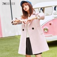 拉夏贝尔毛呢外套女中长款韩版新款时尚宽松百搭粉色过膝羊绒大衣