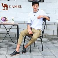 骆驼男鞋 夏季镂空牛皮英伦鞋男士潮鞋休闲透气皮鞋系带休闲鞋