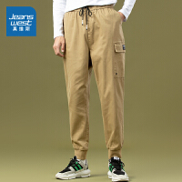 真维斯男装 秋装新款 弹力斜纹布工装九分慢跑裤