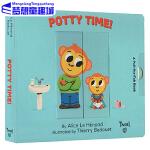 Twirl出品 英文原版 Pull And Play Potty Time 纸板书 抽拉机关操作书 冲马桶时间 儿童生