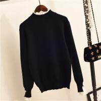 秋冬新款蕾丝花边领毛衣女士假两件套针织衫套头打底衫学生外穿潮 均码(90-110斤)