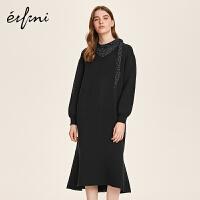 伊芙丽冬装新款韩版黑色裙子高腰长裙针织V领微喇裙摆连衣裙