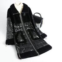 冬季羽绒服中长款女韩版羊毛拼接羊剪绒大衣时尚颗粒外套