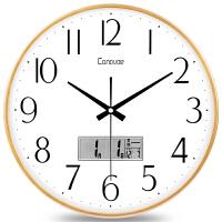 时挂钟客厅钟表静音卧室日历时钟现代简约大气圆形挂表石英钟 液晶款 14英寸(直径35.5厘米)