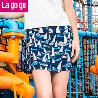 【5折价54.5】Lagogo2017夏季新款雪纺休闲短裙印花裙子百搭半身裙高腰半裙女