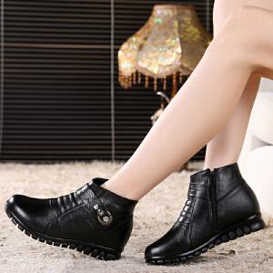 【头层牛皮】冬季棉鞋妈妈鞋靴休闲加棉短靴靴子女头层牛皮真皮女鞋521SY支持