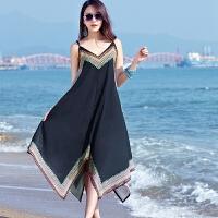 新品宽松显瘦雪纺吊带短款波西米亚沙滩裙印花不规则海边度假裙子 黑色