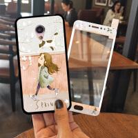 魅族mx6手机壳女款硅胶保护套挂绳mx6钢化膜全屏创意个性防摔卡通
