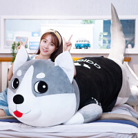 萌毛绒玩具韩国懒人可爱哈士奇抱枕公仔女孩布娃娃睡觉玩偶二哈
