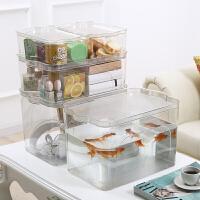 级透明收纳箱大号塑料整理箱衣服储物箱桌面零食化妆品收纳盒