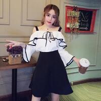 夏装新款甜美吊带露肩喇叭袖上衣+高腰A字短裤裙时髦套装