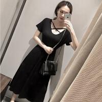 2018夏季新款黑色沙滩裙子长款背后交叉收腰小黑裙短袖连衣裙女装 黑色