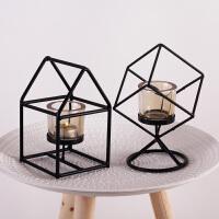 北欧铁艺几何烛台摆件现代简约创意家居装饰品