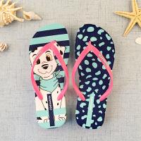 平底防滑耐磨学生沙滩海边凉拖鞋潮拖鞋女夏季卡通可爱人字拖外穿