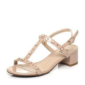 Tata/他她2017夏季专柜同款漆牛皮甜美珍珠粗跟女皮凉鞋2USB1BL7