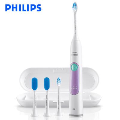 Philips飞利浦电动牙刷HX6616 成人充电式牙龈护理型声波震动牙刷带舌苔清洁刷 浅紫色3档强度选择,2分钟智能计时器!