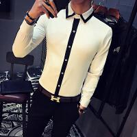 新款长袖衬衫个性情侣装韩版修身发型师酒吧工作衬衣青年烫男装