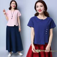中国风女装古装上衣 夏季新款 民族风棉麻修身显瘦中式T恤女衬衫