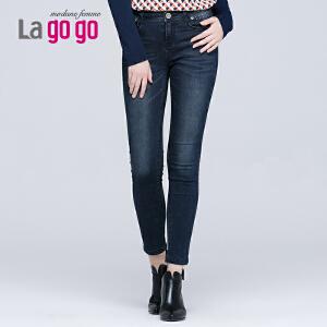 拉谷谷冬季新款水洗磨白多口袋钉珠舒适显瘦直筒牛仔裤女