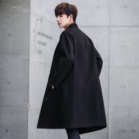 冬季加厚风衣男中长款韩版潮流帅气宽松毛呢大衣男青年男披风外套