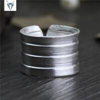 泰国手工银宽面戒指 男女士款 999纯银个性食指环
