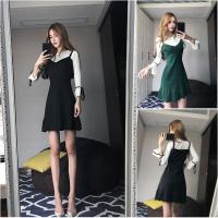 夜场裙子女2018新款秋季性感夜店女装喇叭袖修身假两件针织连衣裙