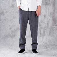 中式唐装男士亚麻裤中国风男装青年休闲大码宽松棉麻裤子民族服装