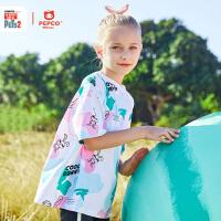 【2件5折夏装到手价:59.5】小猪班纳童装女童夏季休闲圆领短袖潮流全幅迷彩印花可爱小白图案