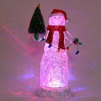 水晶雪人圣诞树 LED发光飘雪摆件 定制*女友 446 11.5*11.5*35