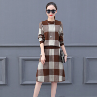 长袖连衣裙女春秋季2018新款韩版修身显瘦针织裙子格子两件套装裙