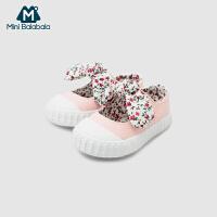 【3件3.5折价:55.65】迷你巴拉巴拉婴儿帆布鞋2019春装新款复古蝴蝶结宝宝鞋子女童鞋