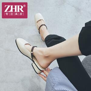 ZHR2018夏季新款方头粗跟凉鞋两穿包头奶奶鞋复古鞋子中跟女鞋潮K78