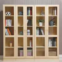 实木书柜书架松木玻璃门组合书柜子儿童书橱带门文件展示柜储物