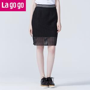 Lagogo/拉谷谷新款黑色网纱拼接半身裙夏女士一步包臀裙中短裙