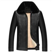 冬季新款中老年衣男休闲男装外套加绒加厚中年男士爸爸皮夹克