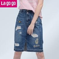 【5折价74.5】Lagogo拉谷谷2017夏季新款贴布磨破高腰牛仔半身裙女开叉裙子中裙