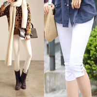 外穿7七分裤胖mm夏装薄款修身弹力小脚裤加大码铅笔裤打底裤