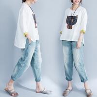 胖mm200斤夏装半袖新款棉麻短袖t恤女上衣大码女装白色体恤打底衫