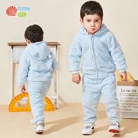 贝贝怡儿童秋装套装冬装2020童装羊羔绒宝宝洋气保暖两件套潮
