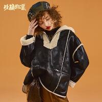 【3折到手价:246】妖精的口袋Y时尚短款仿皮草女冬装新气质保暖款拼接欧货外套