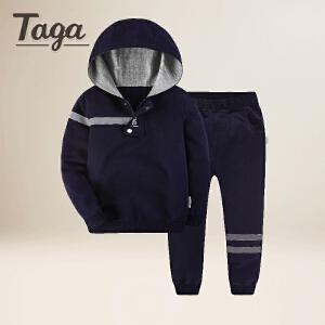 TAGA童装 2018年春季新款儿童针织套装男童长袖上衣长裤中大童两件套