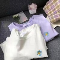 女韩版宽松半袖2021年夏季新款紫色上衣潮百搭短袖女