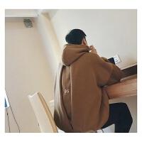 2018潮流韩版风情侣宽松休闲加绒连帽卫衣冬装开衩帅气加厚潮外套