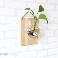 绿萝壁挂鱼缸水培花瓶创意家居饰品客厅墙上花盆墙壁书房装饰 灰色木板+12cm半圆+无痕钉彩石 不含植物