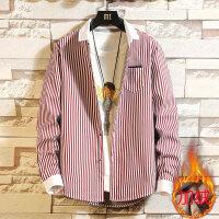 保暖衬衫男长袖韩版宽松外套加绒加厚格子衬衣男士休闲上衣服潮流